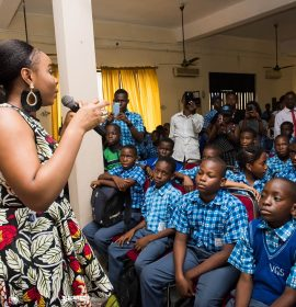 Yemi Alade gives back to the Secondary school she attended as a Teenager